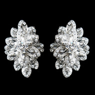Sparkling Antique Silver Plated Rhinestone Clip On Wedding Earrings