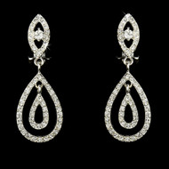 Silver Plated Rhinestone Clip On Wedding Earrings