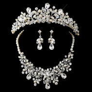 Stunning Pearl and Crystal Bridal Tiara and Matching Jewelry Set