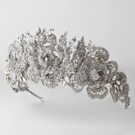 Sterling Silver Plated Floral Rose Wedding Headband