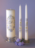 Blue Queen Anne Oval Personalized Wedding Unity Candle Set