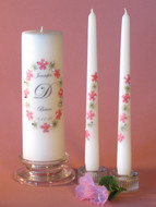 Pink Queen Anne Oval Personalized Wedding Unity Candle Set