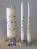 White Queen Anne Oval Personalized Wedding Unity Candle Set