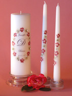 Red Queen Anne Oval Personalized Wedding Unity Candle Set