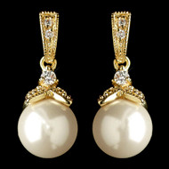 Gold Plated Diamond White Pearl and CZ Wedding Earrings