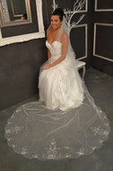 Beaded Scallop Elena Designs E1151L Cathedral Wedding Veil - sale!