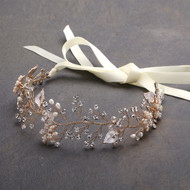 Designer Gold Bridal Vine Headband with Painted Leaves