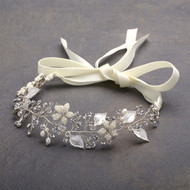 Designer Silver Bridal Vine Headband with Painted Leaves