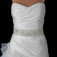 Dramatic Sheer Organza Rhinestone and Pearl Wedding Dress Belt