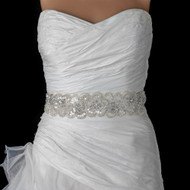 Dramatic Ivory Beaded Sequin Rhinestone Wedding Dress Belt