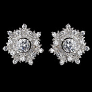 CZ Crystal Snowflake Stud Earrings