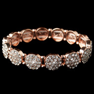 Rose Gold Rhinestone Circle Stretch Bracelet