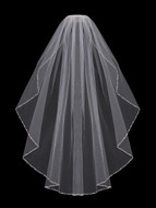 Beaded Fingertip Length Wedding Veil enVogue V702SF