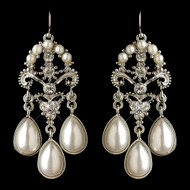Rhodium Plated White Pearl Wedding Earrings