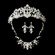 Crystal and Pearl Wedding, Quince Tiara with Matching Jewelry