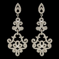 CZ Crystal Swirl Rhodium Plated Wedding Earrings