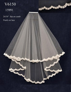 Two Tier Wedding Veil with Beaded Scallop Lace V6150
