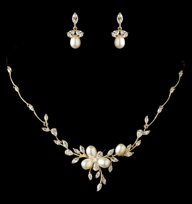 Freshwater pearl and cz gold or rose gold wedding jewelry set gold junglespirit Image collections