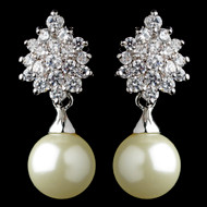 Ivory Pearl and CZ Wedding Earrings