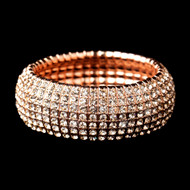 Rose Gold Crystal Stretch Wedding and Formal Bracelet