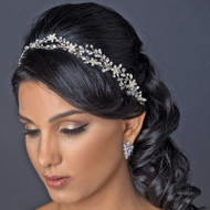 Silver Plated Rhinestone and Crystal Vine Wedding Headband