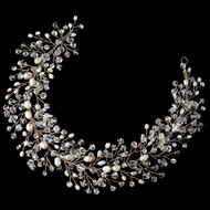 Pearl and Crystal Hair Vine Wedding Headband hp6903