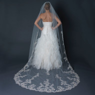 Regal Ivory Floral Lace Embroidery Cathedral Length Wedding Veil