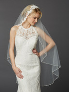 Semi-Waltz Wedding Veil with Beaded Lace Top 4420V