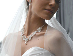 Pearl and Rhinestone Wedding Jewelry Set Ansonia Bridal 8601EN