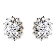 Clear CZ Crystal Stud Wedding Earrings