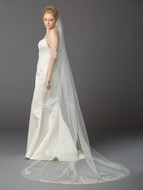 Silver Beaded Lace Cathedral Wedding Veil Mariell 4417V
