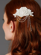 English Rose Beaded Lace Victorian Bridal Comb