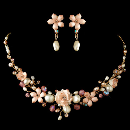 Gold/Pink Jewelry Set