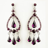 Amethyst Crystal Chandelier Wedding and Prom Earrings