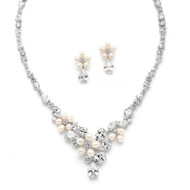 Freshwater Pearl and CZ Statement Wedding Jewelry Set
