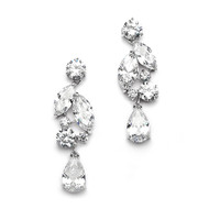 CZ Mozaic and Teardrop Wedding Earrings