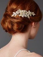 Gold Leaf Crystal Bridal Comb with Enamel Leaves