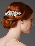 Hand Painted Silver Leaf Crystal Bridal Comb