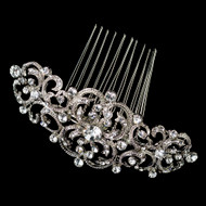 Art Deco Rhodium Plated Wedding Hair Comb