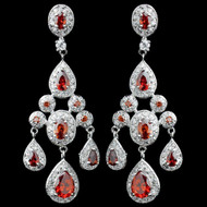 Glamorous Red CZ Crystal Wedding Earrings