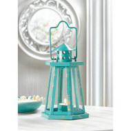 12 Distressed Aqua Lighthouse Candle Lantern Wedding Centerpieces