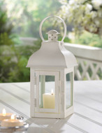 8 Small White Gable Candle Lantern Wedding Centerpieces