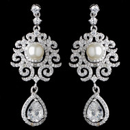 Diamond White Pearl and CZ Dangle Bridal Earrings