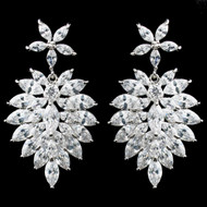 Marquise CZ Cluster Drop Bridal Earrings