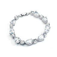 Dainty CZ Pears and Rounds Wedding Bracelet