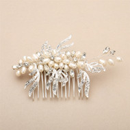 Freshwater Pearl and Crystal Silver Leaf Bridal Comb