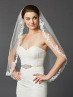 Ivory Scalloped Lace Fingertip Length Wedding Veil