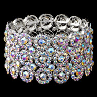 Silver Circles AB Crystal Stretch Wedding Bracelet