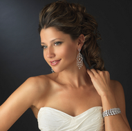 CZ Chandelier Wedding Earrings and Coordinating Bracelet Set