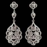 Silver Rhodium Vintage 1920's Inspired Wedding Earrings -Sale!